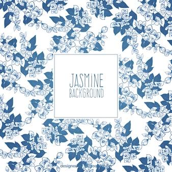 Fond décoratif de jasmins dessinés à la main