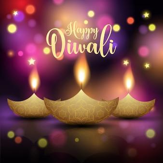 Fond décoratif de lampe diwali