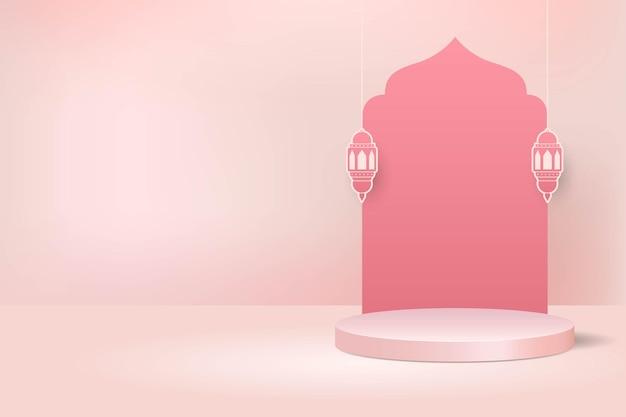 Fond de décoration de podium d'affichage islamique 3d pour la vente de ramadan