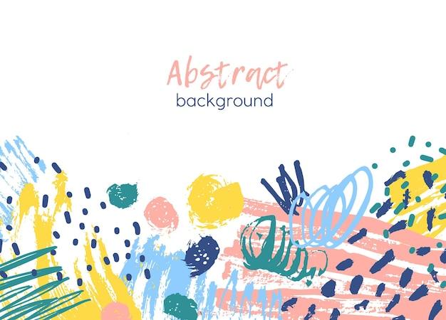 Fond décoré par des traces de peinture chaotiques colorées, des coups de pinceau, des gribouillis, des barbouillettes, des taches et des taches