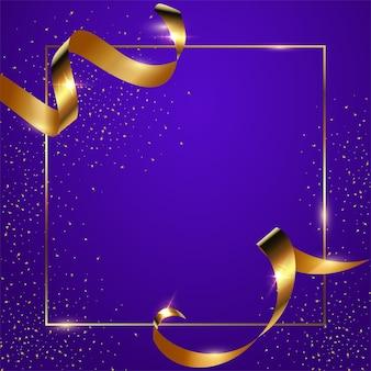 Fond dégradé bleu avec cadre géométrique mince, rubans dorés et confettis.
