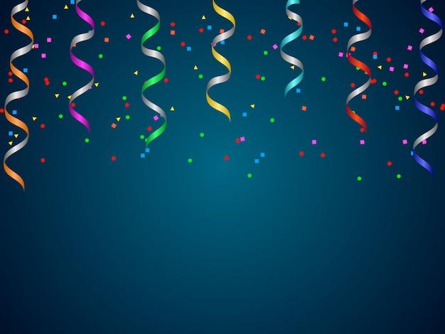 Fond dégradé bleu avec serpentine colorée et fond de confettis