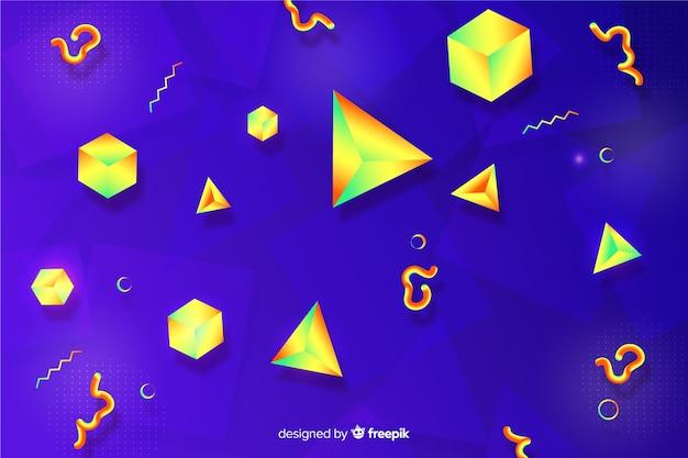 Fond dégradé avec des formes tridimensionnelles