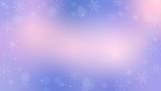 Fond dégradé d'hiver avec des flocons de neige