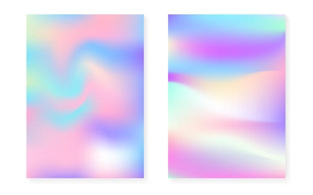 Fond dégradé hologramme serti de couverture holographique. style rétro des années 90 et 80. modèle graphique irisé pour pancarte, présentation, bannière, brochure. gradient futuriste d'hologramme minimal.