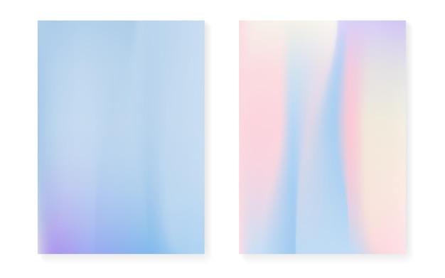 Fond dégradé hologramme serti de couverture holographique. style rétro des années 90 et 80. modèle graphique nacré pour flyer, affiche, bannière, application mobile. dégradé d'hologramme minimal néon.