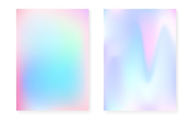 Fond dégradé holographique serti de couverture hologramme. style rétro des années 90 et 80. modèle graphique irisé pour livre, interface annuelle, mobile, application web. dégradé holographique minimal vibrant.