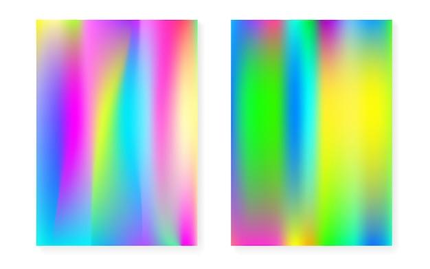 Fond dégradé holographique serti de couverture hologramme. style rétro des années 90 et 80. modèle graphique nacré pour flyer, affiche, bannière, application mobile. gradient holographique minimal en plastique.