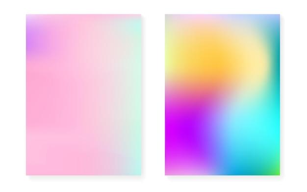 Fond dégradé holographique serti de couverture hologramme. style rétro des années 90 et 80. modèle graphique nacré pour pancarte, présentation, bannière, brochure. dégradé holographique minimal multicolore.