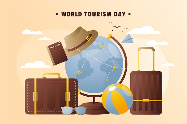 Fond dégradé de la journée mondiale du tourisme