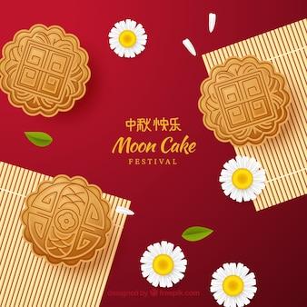 Fond de délicieux gâteau de lune dans un style réaliste