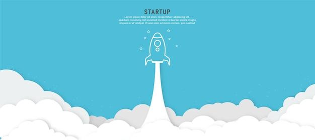 Fond de démarrage produit de concept de lancement de fusée