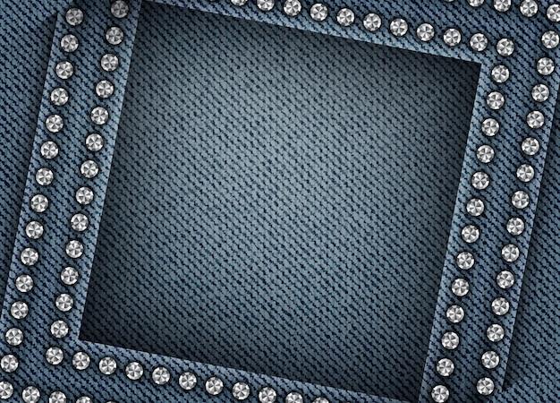 Fond de denim bleu avec des arcs et des bordures de paillettes