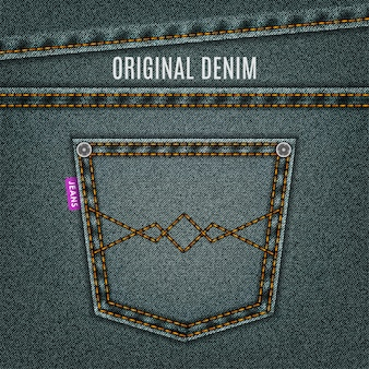 Fond denim de texture jeans gris avec poche