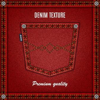 Fond denim de texture jeans rouge avec poche