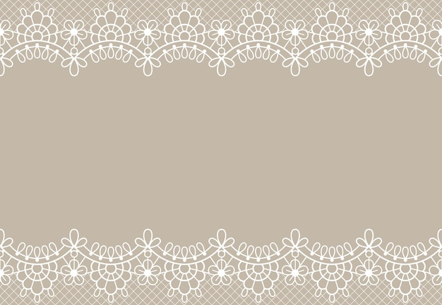 Fond de dentelle. élément de design orné de bordures de dentelle florale de luxe avec place pour le texte. texture vectorielle de mariage, anniversaire ou certificat. élément décoratif romantique avec détails sur beige