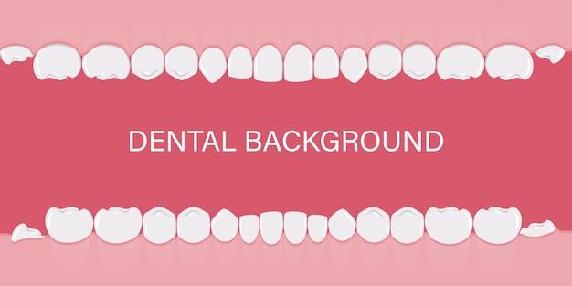 Fond avec des dents humaines d'affilée.