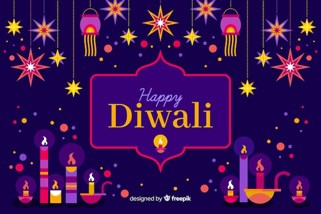 Fond de design plat diwali avec des lumières
