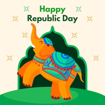 Fond de design plat jour de la république indienne avec éléphant