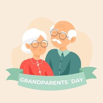 Fond de design plat de la journée nationale des grands-parents