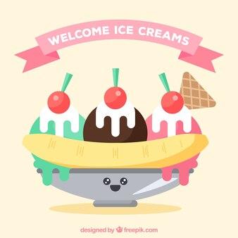 Fond de desserts glacés en plat