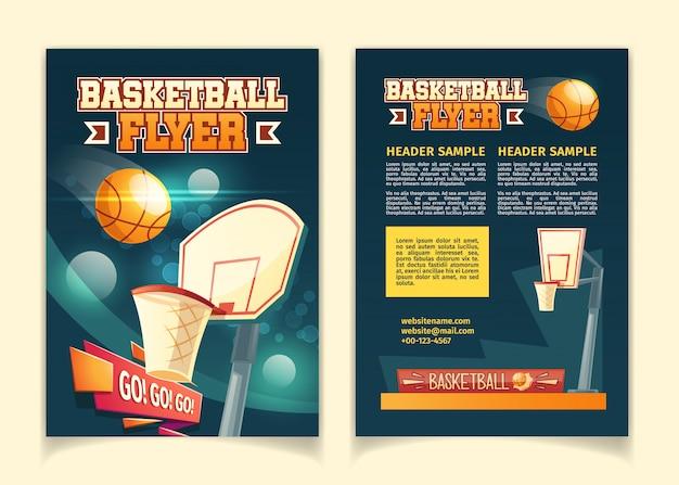 Fond de dessin animé avec des flyers à inviter sur un match de basket.