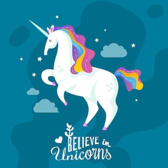 Fond de dessin animé de licorne