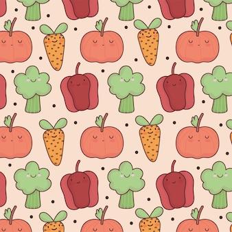 Fond de dessin animé mignon de légumes frais