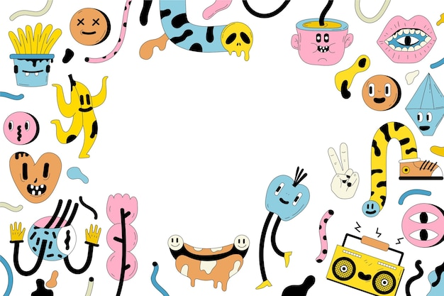 Fond de dessin animé à la mode dessiné à la main