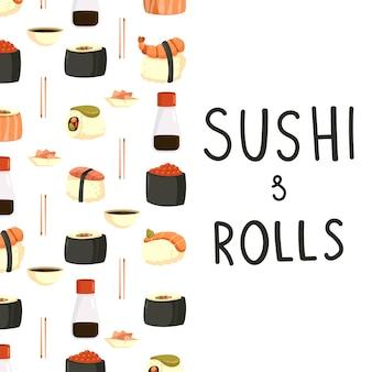 Fond de dessin animé de sushi et rouleaux