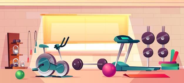 Fond de dessin animé de vecteur de gym avec grande fenêtre