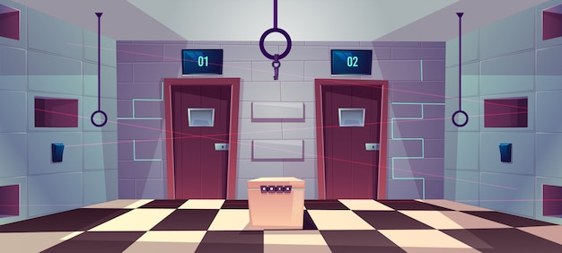 Fond de dessin animé de vecteur de la salle de quête à portes fermées