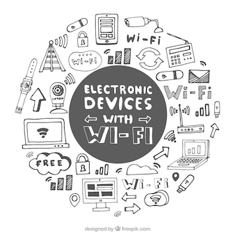 Fond dessiné à la main avec des appareils électroniques