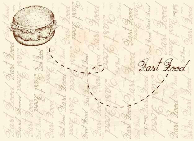 Fond dessiné à la main de burger de poulet frit