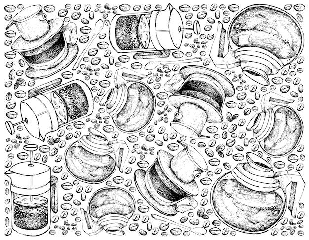 Fond dessiné à la main de la cafetière avec grains de café