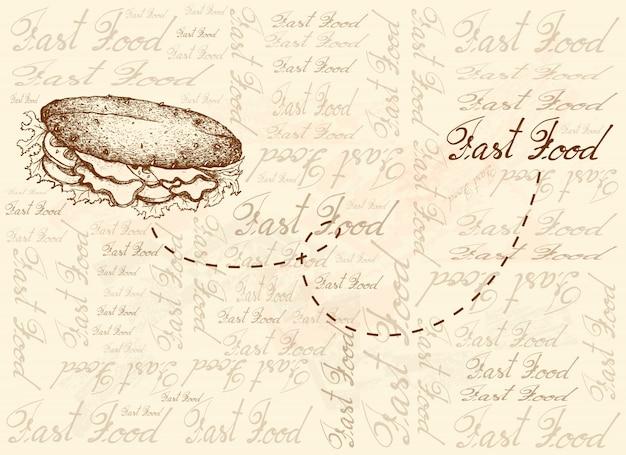 Fond dessiné à la main de délicieux sandwich à la baguette