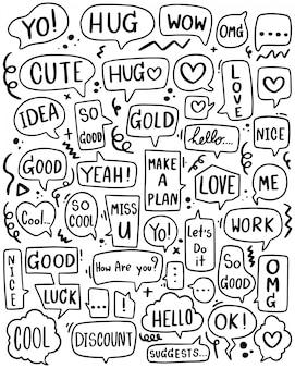 Fond dessiné à la main ensemble de texte de bulle de discours mignon dans un style doodle
