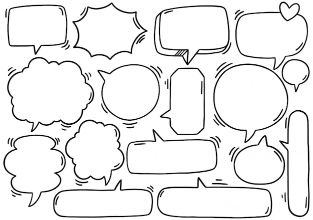 Fond dessiné à la main ensemble de texte mignon bulle eith dans un style doodle
