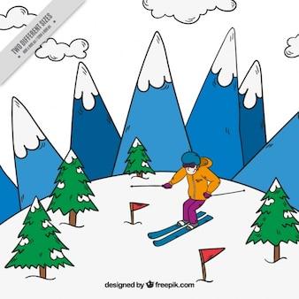 Fond dessiné à la main avec l'homme ski