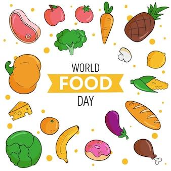 Fond dessiné à la main de la journée mondiale de la nourriture