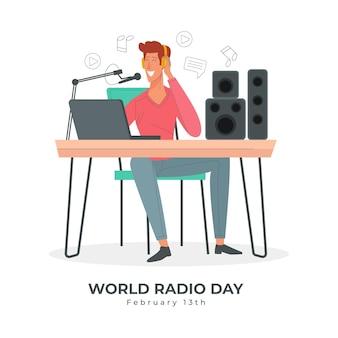 Fond dessiné à la main de la journée mondiale de la radio avec le présentateur