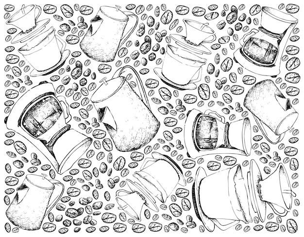 Fond dessiné à la main des machines à café goutte à goutte