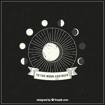 Fond dessiné à la main des phases lunaires