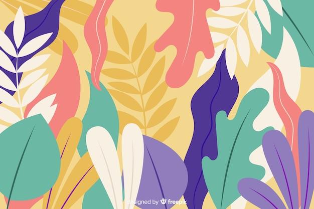 Fond dessiné à la main avec des plantes exotiques