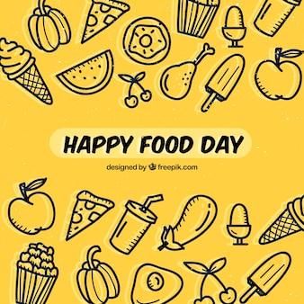 Fond dessinée à la main pour la journée alimentaire mondiale