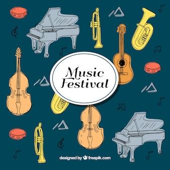 Fond de dessinés à la main pour le festival de musique