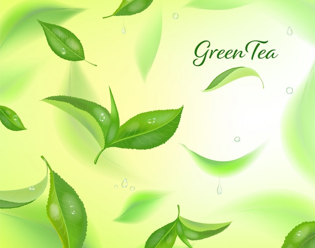 Fond détaillé élevé avec des feuilles de thé vert en mouvement. feuilles de thé floues.