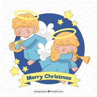 Fond avec deux gentils anges de noël