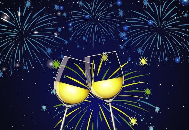 Fond avec deux verres de champagne et feux d'artifice