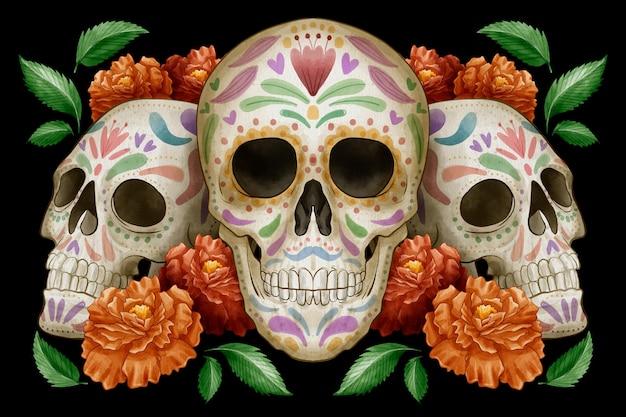 Fond de dia de muertos aquarelle